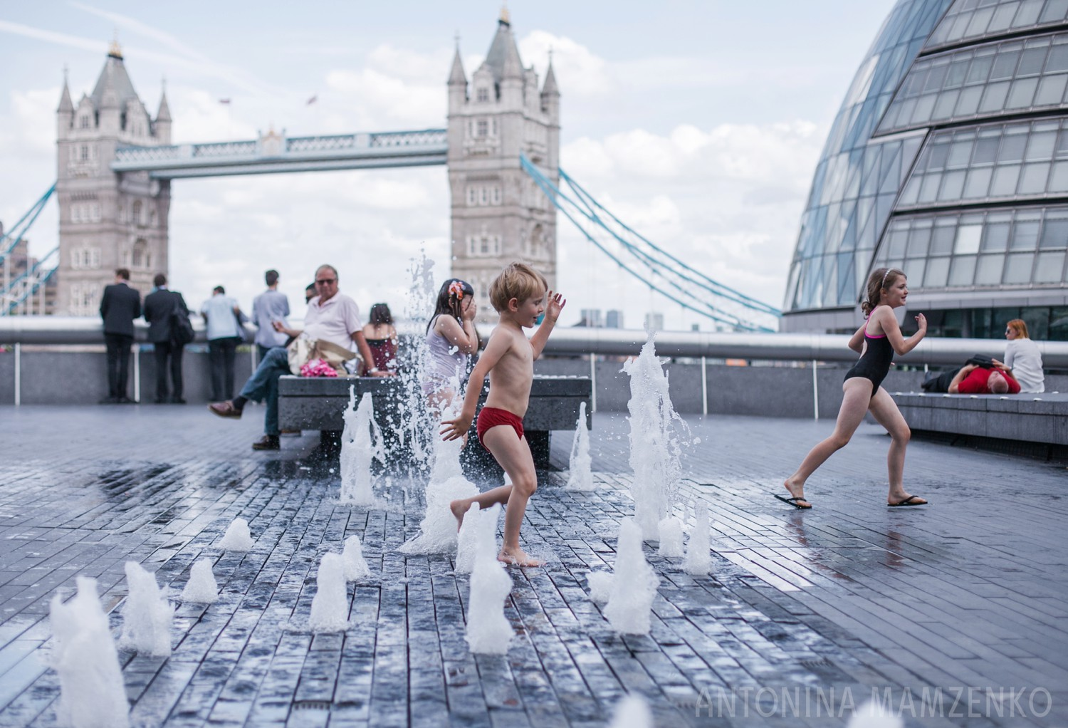 London with kids tower bridge in the summer