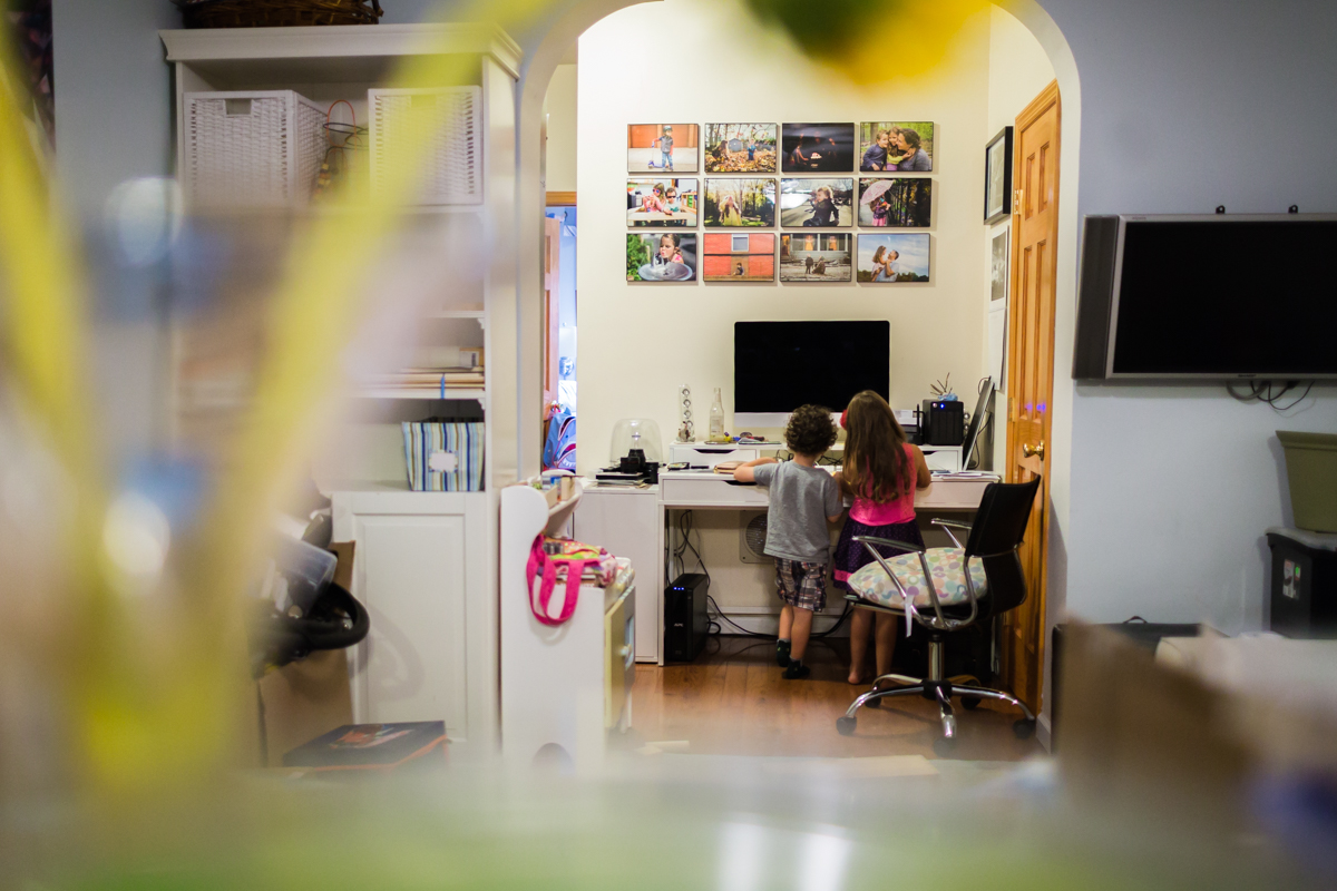 photo display of kids in home office