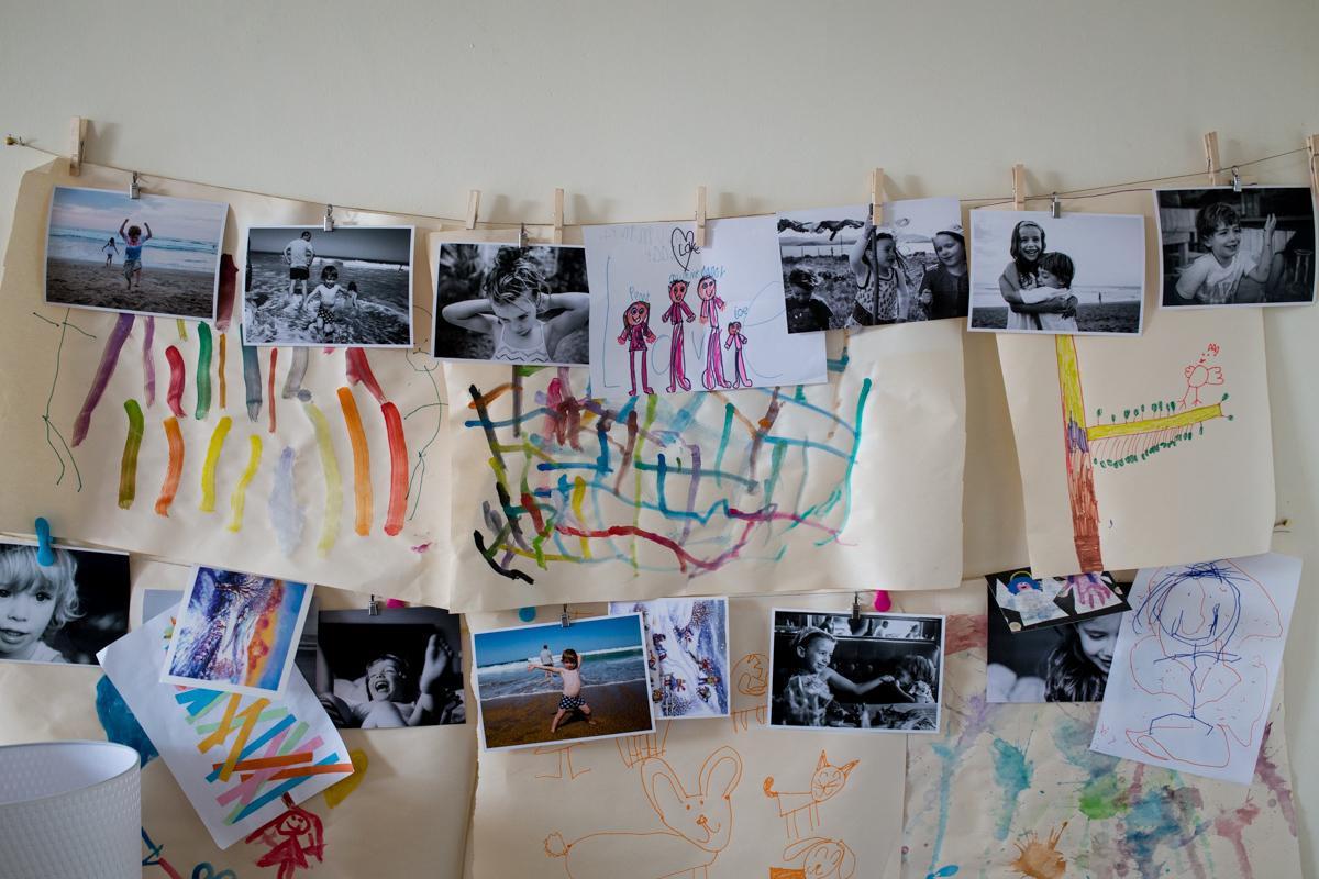 photo and kids art display